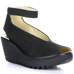 Fly London Yala Perforated Leather Peep Toe Wedge